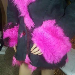 MAYK LEATHERWEAR Jackets & Coats - MAYK-BLACK PINK REAL SHEARLING SHEEPSKIN COAT